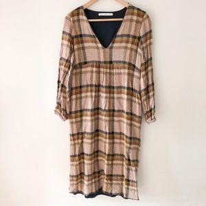 ZARA Long Sleeve Plaid Dress Size S